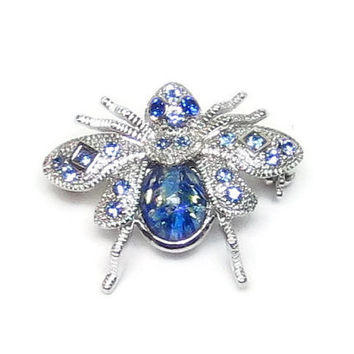 Vintage Bumble Bee Brooch Silver Bee Pin Blue Green Body Blue Rhinestone Eyes