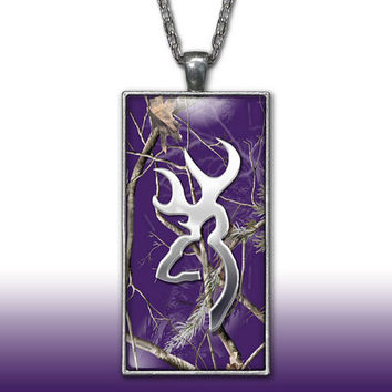 Purple Camo Pendant Charm Necklace Deer Head Browning Country Girl Custom Necklace Hunting Silver Plated Jewelry