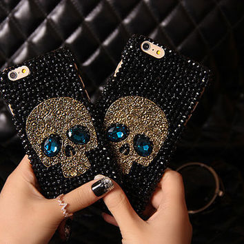 New Full Crystal Handmade Skull Cell Phone Case Cover for iPhone 6 6s 5 5s 6plus 6s plus