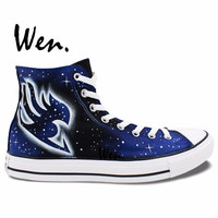 Wen Hand Painted Shoes Anime Design Custom Fairy Tail Logo Blue Galaxy Men Women's High Top Canvas Sneakers