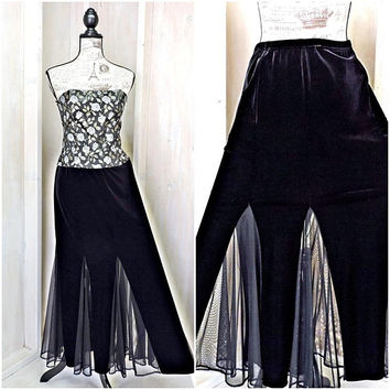 Black velvet skirt / vintage 80s / plush velvet / long maxi length / sexy sheer / formal evening party / size  8 / 10