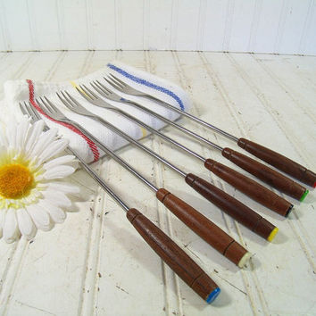 Retro Fondue Party Set of Forks - Vintage Mid Century Mod Groovy Colors & Wood - Stainless Steel Made in Japan - BoHo 6 Pieces Collection