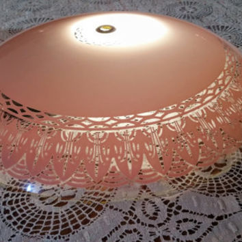 Mid Century Round Ceiling Glass Light Cover Pink Lace Design