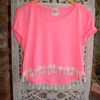 Lace Hi Lo High Low Cropped Tee T Shirt - Boho Hippie Coachella Pink