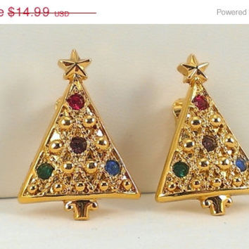Christmas Tree Earrings Gold Tone Metal Setting Star Multicolor Rhinestone Ornaments Clip On Mod MMC Mid Century Holiday Gifts for Her 1960s