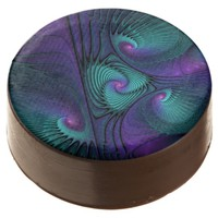 Purple meets Turquoise modern abstract Fractal Art Chocolate Dipped Oreo