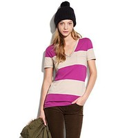 Women's TEES & TANKS - tees - Striped V-Neck Pocket Tee - Madewell