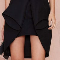 Black Overlay Skirt with High Low Detail