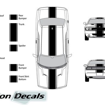 "Dodge Challenger 2010 15"" Rally Racing Stripe with Pin Stripes Vinyl Decal Kit"