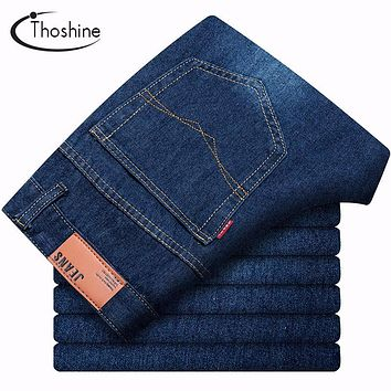 Thoshine 2017 Autumn Winter Man Quality Brand Jeans Loose Fashion Straight Casual Denim Pants Full Length Keep Warm Men Trousers