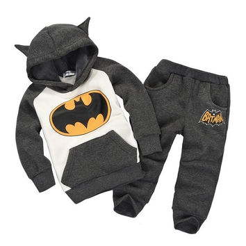 In Stock Hot Boy Batman Suit Girl Cartoon Set Animal Set Hoodies+Pants Child Clothing Sets = 1927932036