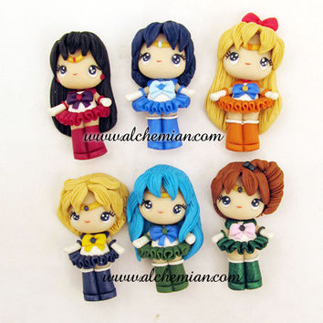 9 dolls sailors serenity chibiusa sailor moon figurine ooak necklace made in italy