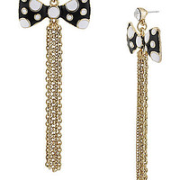 BetseyJohnson.com - DOT BOW MULT CHAIN EARRING BLACK-WHITE