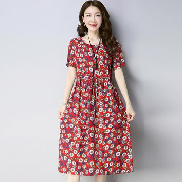 Sweet Summer Floral Printed Cotton Linen Dress Women O Neck Ladies Dresses Short Sleeve Vestidos Femininos Midi Dresses