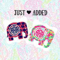 Elephant Preppy Pattern Inspired Decal, Pattern Inspired Decal Monogram, Elephant Decal, Elephant car decal,  Yeti decal