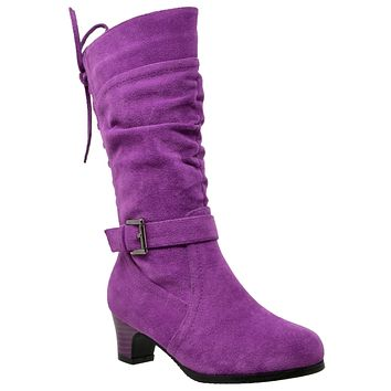 Kids Knee High Boots Corset Lace Up Back Buckle Strap Low Heel Shoes Purple