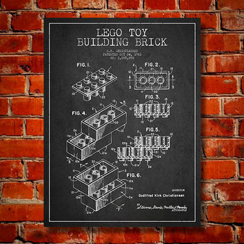 1961 Lego Toy Building Brick Patent, Canvas Print, Wall Art, Home Decor, Gift Idea