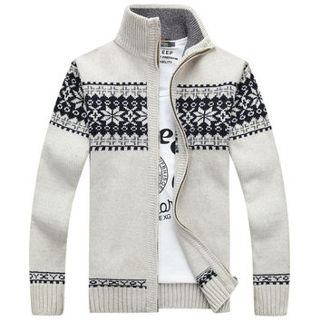 Warm Men Cardigans Sweaters Casual Knitwear Hipster