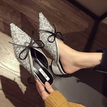 Womens Pointed Toe Chunky High Heels Sequins Bow Slippers Casual Sandals Fashion