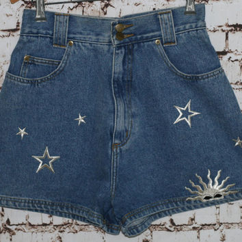 90s High Waist Denim Shorts Star and Sun Moon Patches Festival Boho Hippie Hipster Grunge 28 S M 70s Jean Waisted Chazzz By Charles Ghaitlan
