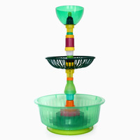 Multiplastica Domestica Large Tiered Fruit Bowl in Green and Black