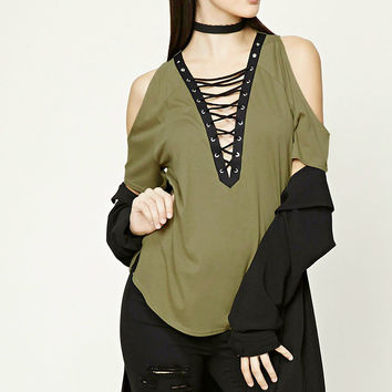Open-Shoulder Lace-Up Top
