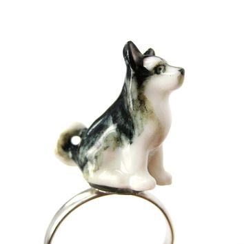 Porcelain Ceramic Siberian Husky Puppy Dog Animal Adjustable Ring | Handmade