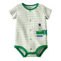 Soft Cotton Green Frog Stripes Body Baby Boy Romper Ropa Bebe Jumpsuits Overall Summer 2017 Boys Clothes Toddler Infant Clothing