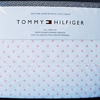 Tommy Hilfiger FULL 4 Piece Sheet Set - Pink Polka Dots on White - Cotton Blend