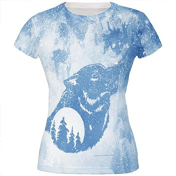 Distressed Blue Howling Wolf Silhouette All Over Juniors T Shirt