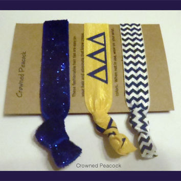 3 pc DELTA DELTA DELTA -  Sorority Glitter Elastic Hair Ties, Tri Delta Blue Chevron Hair Bands, Stocking Stuffer Sorority Gift
