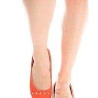 ORANGE SUEDE MATERIAL STUD ACCENT ALMOND TOE FLATS