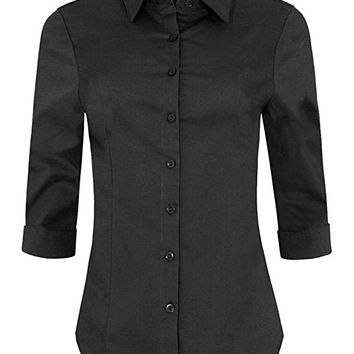 Womens 3/4 Sleeve Skinny Button Down Collared Shirts With Stretch