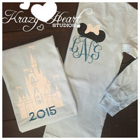 Castle Disney Tank - Minnie Ears Monogram - Chambray Tee and Aqua Glitter Vinyl - Comfort Color - Disney Monogram - Castle Monogram
