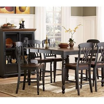 Homelegance Ohana 8 Piece Counter Height Dining Room Set in Black/ Cherry