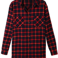 LE3NO Womens Oversized Plaid Long Sleeve Flannel Boyfriend Shirt (CLEARANCE)