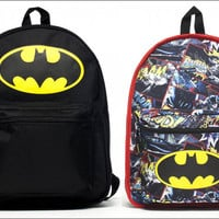DC Comics Batman Dark Knight Reversible School Backpack Book Bag LICENSED BLACK