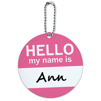 Ann Hello My Name Is Round ID Card Luggage Tag