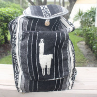 Peruvian Handmade tribal backpack grey stripes