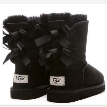UGG:: bow leather boots boots in tubeb cute two bowknot Black-1