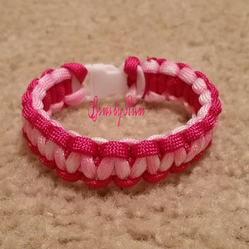 Hot Pink and Light Pink Cobra Weave Paracord Survival Bracelet with Buckle for Camping, Hiking, or Fashion Accessory