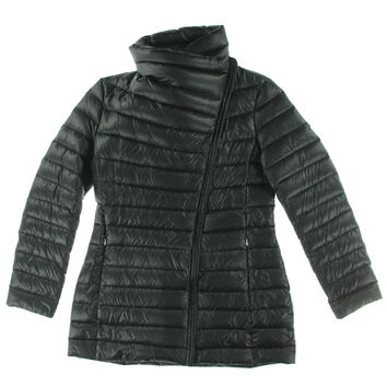 Calvin Klein Womens Faux Leather Trim Packable Puffer Coat