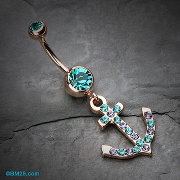 Rose Gold Anchor Gem Sparkle Belly Button Ring