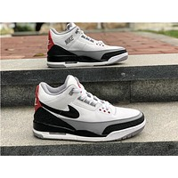 2018 Nike Air Jordan 3 White / Black / Gray Basketball Sneaker