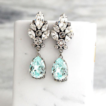 Bridal Earrings, Aquamarine Earrings, Aquamarine Bridal Silver Earrings, Light Blue Swarovski Crystal Earrings, Bride Drop Long Earrings