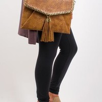 Riley Snakeskin Faux Leather Cross body Clutch - Chestnut