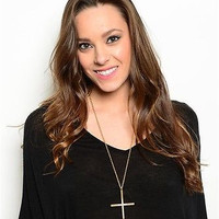 Long Cross Necklace with Rhinestones in 3 Colors