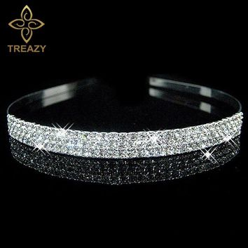 TREAZY Sparking Crystal Imiated Pearl Headband Silver Plated Wedding Party Tiara Hairbands Flower Girls Bridal Hair Accessories