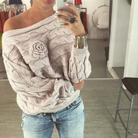 winter women ladies jumpers sweater Twisted batwing sleeve off shoulder knitted pullover jersey mujer K