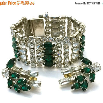 Hobe' Rhinestone Demi, Green and Clear Rhinestones, Bracelet and Earring, Six Domed Links, Wedding Jewelry, Vintage Bridal, Special Occasion